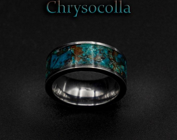 chrysocolla ring , Healing crystal ring, chrysocolla jewelry, stones, green stone ring, men, earth stone jewelry, raw stone rings.