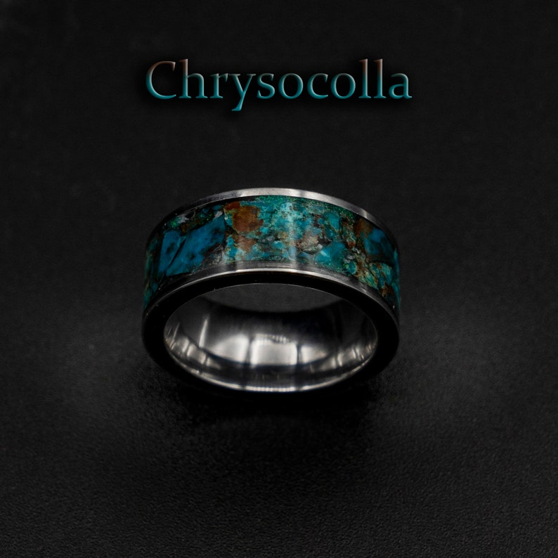chrysocolla ring  Healing crystal ring chrysocolla jewelry image 0