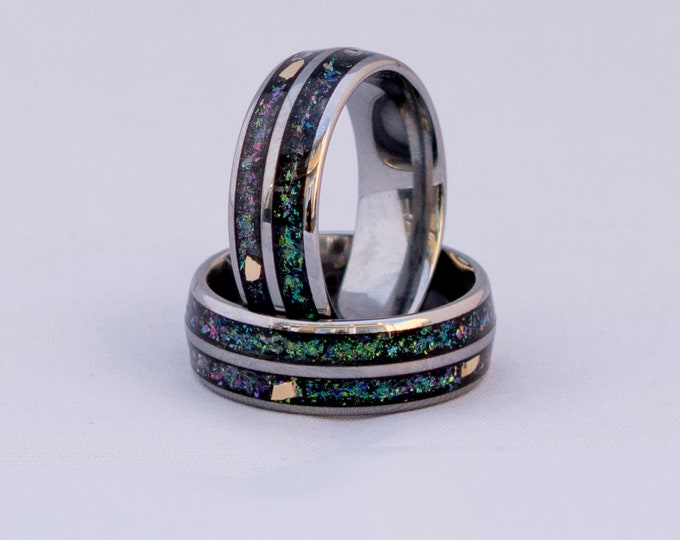 tungsten ring set, wedding ring, mens wedding band, opal ring, gift for men, tungsten, personalized ring, wedding bands, Galaxy ring