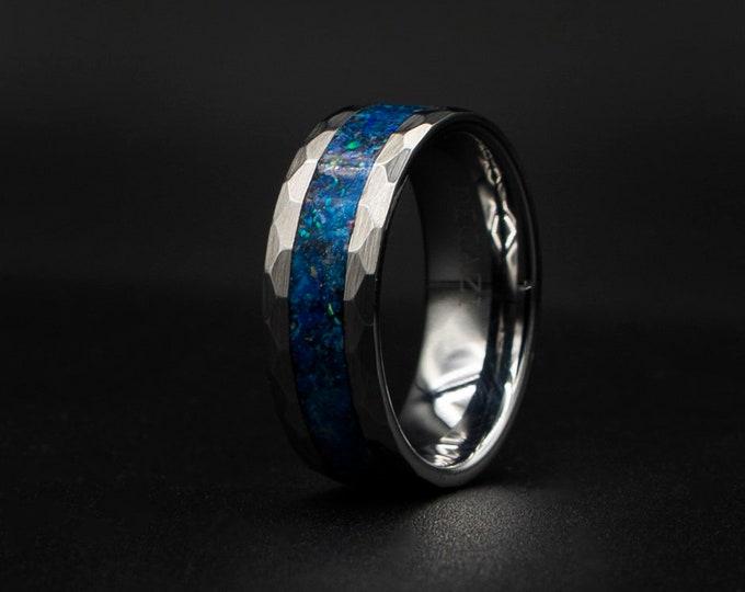 Hand Hammered Tungsten Opal Inlay Wedding Band, Unique Wedding Band, Galaxy Glowstone Ring, Unique Galaxy Ring, Custom Wedding Ring