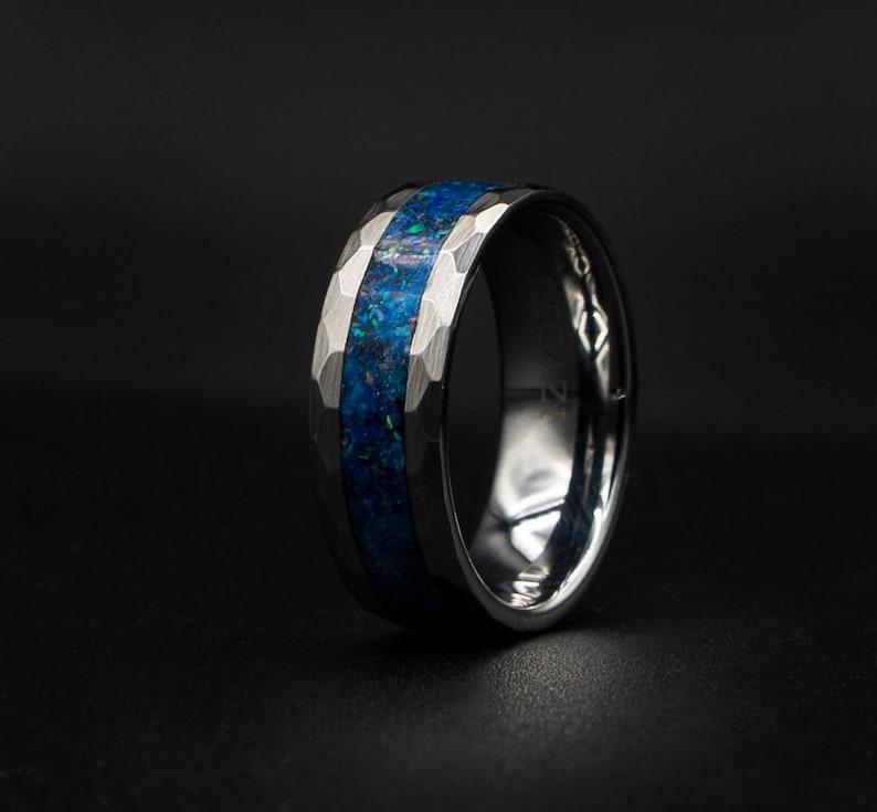 Hand Hammered Tungsten Opal Inlay Wedding Band Custom Wedding Ring Unique Wedding Band Galaxy Glowstone Ring Unique Galaxy Ring