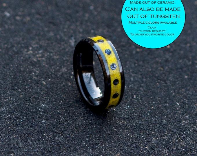 Ladybug meteorite ring. Glowstone ring. Man opal ring. Black ceramic ring, human opal ring. crushed opal ring.