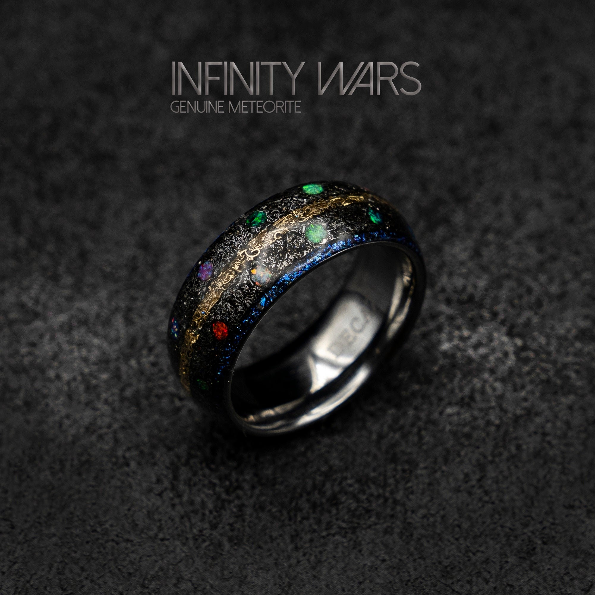 It is a graphic of marvel infinity ring, Meteorite ring, Opal ring, tungsten, mens