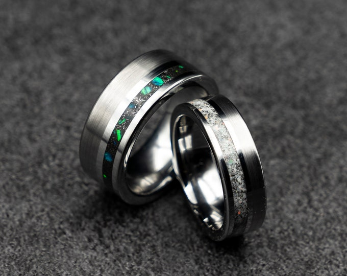 Offset tungsten ring with heaven-dust or demon-dust