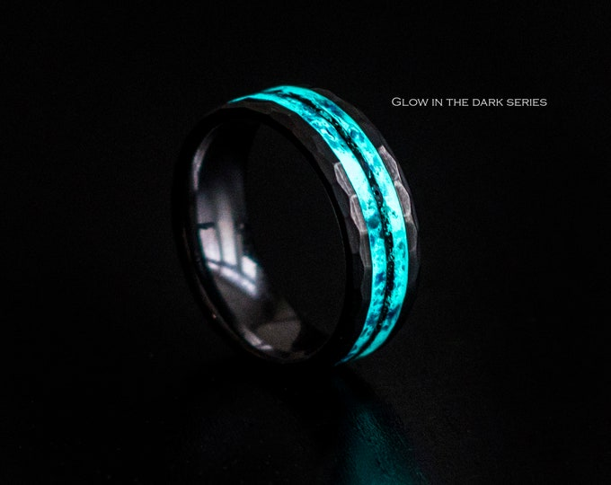 Glow in the dark. mens opal ring. Galaxy opal. Tungsten ring for men. meteorite opal ring. Christmas. wedding band men. ring with opal inlay