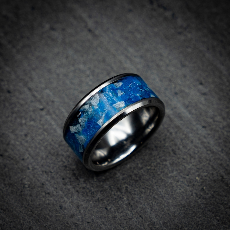 Unique mens rings. Mens wedding band Valentine gift blue opal ring valentines day gift for him Glowstone ring Glow in the dark ring