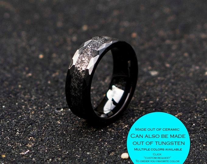 Wedding band, promise Bands, wedding Rings, Anniversary band, Promise rings, Meteorite Tungsten ring, Mens wedding Band, Mens Opal Ring