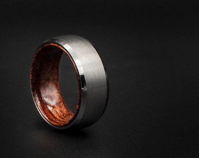 silver tungsten ring, cheap ring, wood inlay ring, Cheap wedding ring, unique wedding band, couple ring, cheap jewelry, , cool man, cherry,
