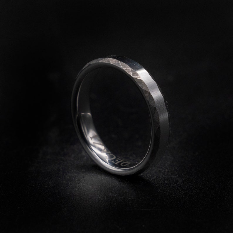 Hammered ring tungsten ring wedding band mens rings for image 0