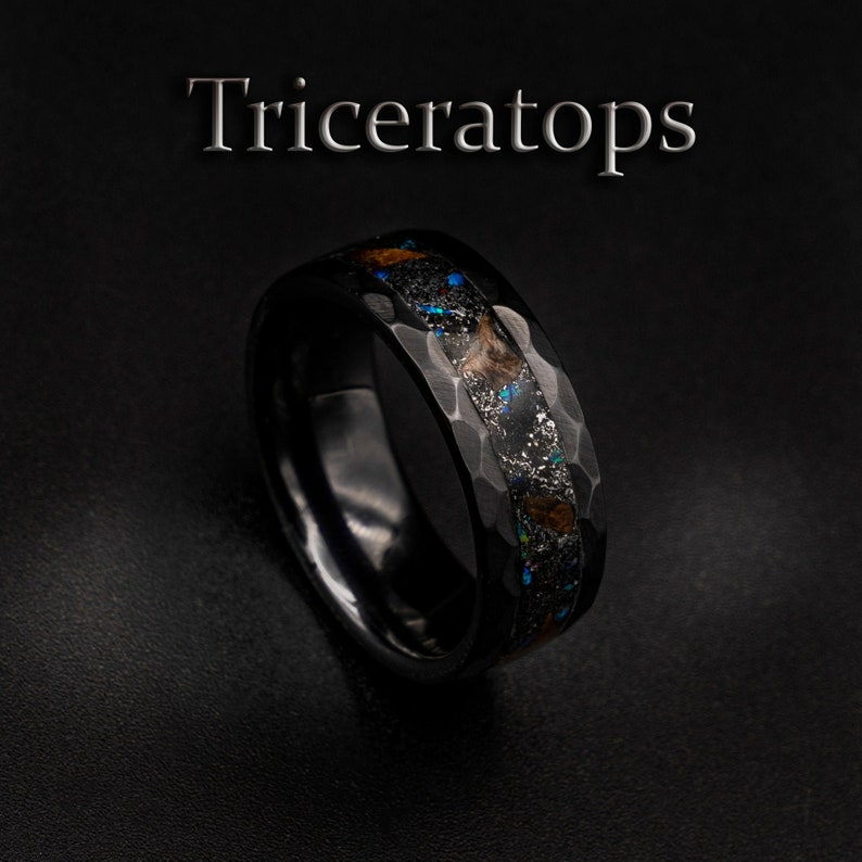 triceratops ring necklace dinosaur bone ring men fossil image 0