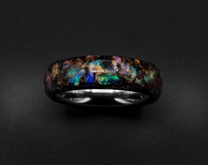 glow in the dark ring, australian opal ring, mens ring, Genuine opal, galaxy opal, mens wedding band, tungsten, raw gemstone, birthstone.
