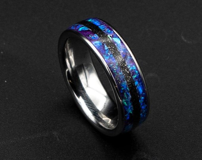 Galaxy opal ring, glow in the dark, purple opal,  opal engagement ring, silver opal ring, simple opal ring, meteorite , meteorite jewelry.