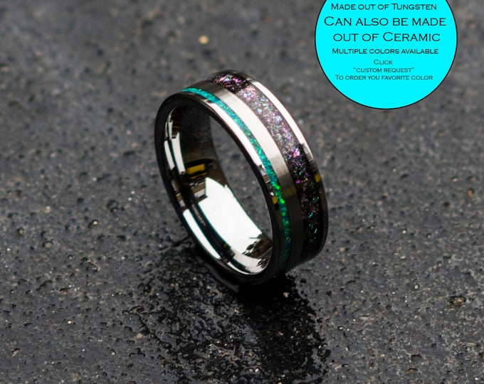 Tungsen Mens wedding band with Peacock green opal and chameleon flakes.
