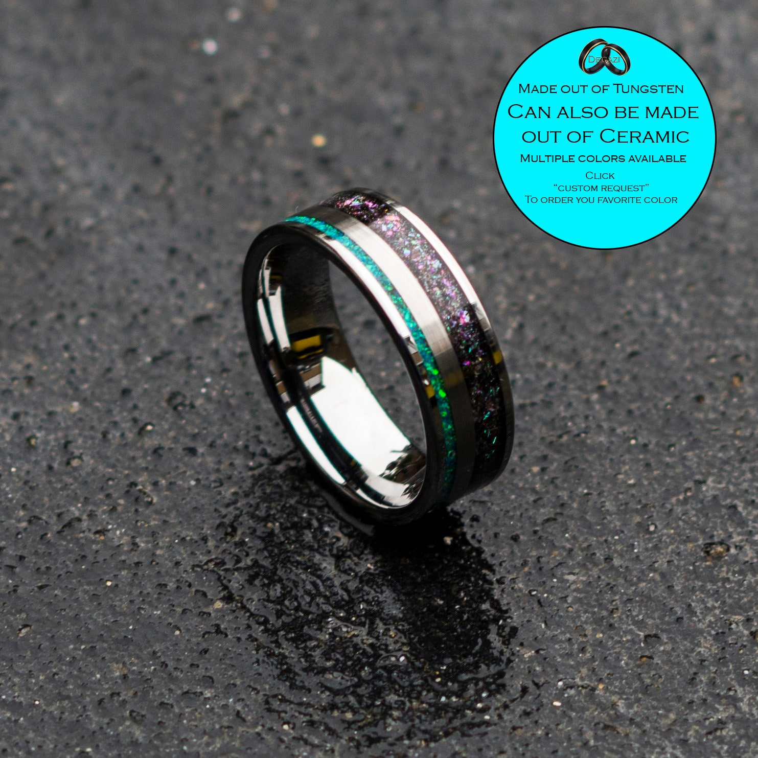 Opal Engagement Ring Tungsten Ring Mens Opal Ring Opal Ring Opal