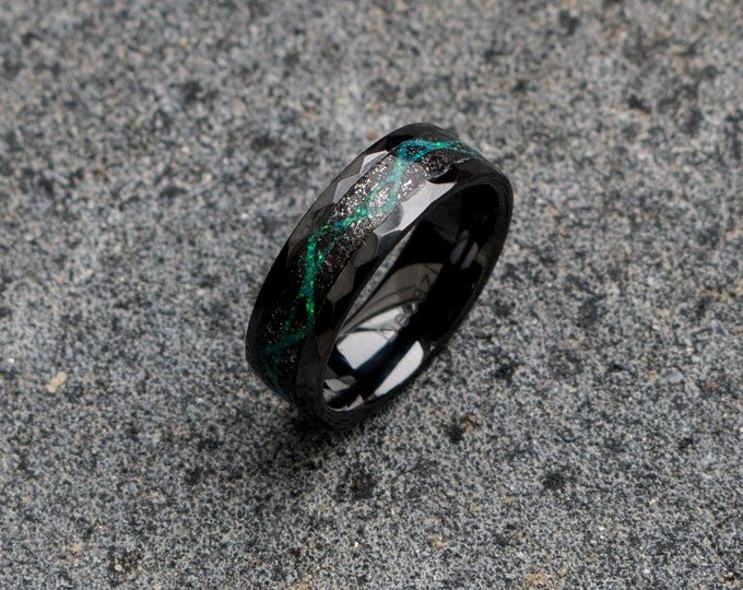Black Ceramic ring with meteorite and galaxy opal, wedding band, engagement ring