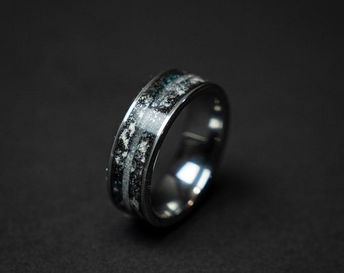 meteorite ring, Herkimer diamond, Glow in the dark ring, glow ring, tungsten ring men, Lunar jewelry, mens wedding band, mens ring.
