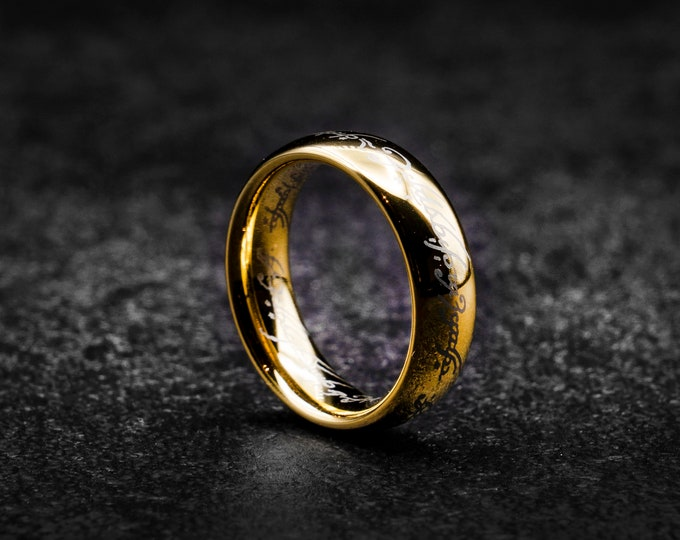 Engraved lord ring, Gold tungsten ring, ring for men, Tungsten wedding band, affordable ring, Gold wedding band, ring men, 4mm ring.