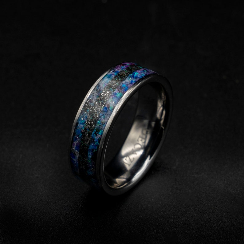 meteorite ring men opal engagement tungsten galaxy opal image 0