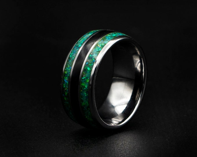Triple mens tungsten ring with Green opal.