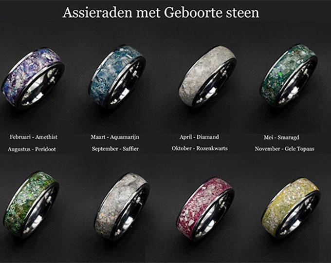 Periodot ring, aquamarine engagement ring, moldavite ring, herkimer diamond ring, promise ring for him, obsidian ring