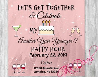 Happy Hour Digital Download Instant Downloadable Birthday Invite Invitation Work