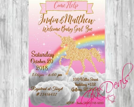 Unicorn Baby Shower Birthday Party Instant Downloadable Gold Glitter Sparkle Baby Shower Unicorn Theme Baby Shower Invitation