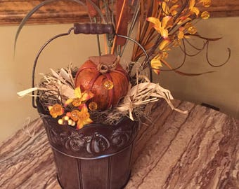 Fall Floral Metal Pail Centerpiece