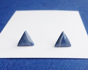 Cute Blue Stud Earrings, Small Triangle Geometric Earrings, Simple Dainty Earrings, Minimalist Jewellery, Modern Earrings, Resin Earrings