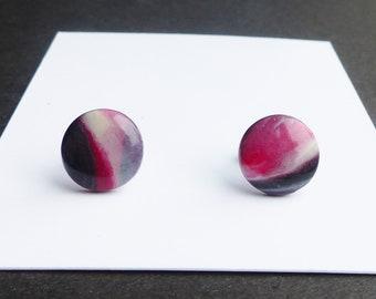 Black Red Stud Earrings, Simple Minimal Jewellery, Unisex Jewellery, Dark Gothic Earrings, Affordable Gifts for Sister, Earrings for Men