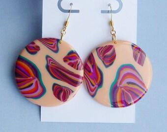 Floral Dangle Earrings, Bohemian Earrings, Colourful Modern Jewellery, Pink Flower Earrings, Summer Festival Earrings, Boho Earrings, Gifts