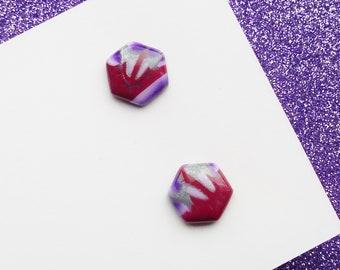Hexagon Stud Earrings, Purple Floral Earrings, Red Pattern Earrings, Polymer Clay Earrings, Resin Geometric Jewellery, Ultra Violet Lilac