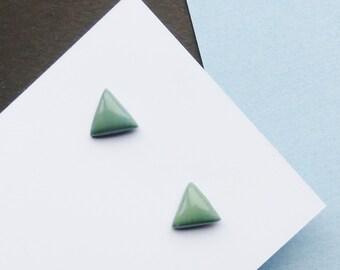 Stud Earrings, Khaki Green Earrings, Triangle Earrings, Simple Earrings, Minimalist Jewellery, Colourful Earrings, Small Earrings, Studs