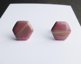 Stud Earrings, Hexagon Earrings, Pink Earrings, Terracotta Earrings, Women's Earrings, Jewellery, Studs, Pastel, Geometric, Minimalist