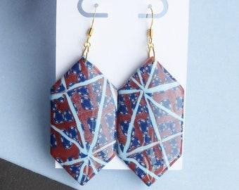 Boho Dangle Earrings, Large Hexagon Earrings, Blue Brown Bronze Jewellery, Quirky Earrings, Geometric Jewellery, Affordable Gifts for Girl