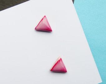 Cute Red Stud Earrings, Triangle Geometric Earrings, Small Dainty Earrings, Simple Earrings, Modern Minimal Jewellery, Gifts for Women Girl
