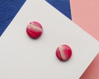 Red Stud Earrings, Beige Marble Earrings, Simple Earrings, Women's Gifts, Contemporary Studs, Minimal Jewellery, Colourful Jewellery, Cute