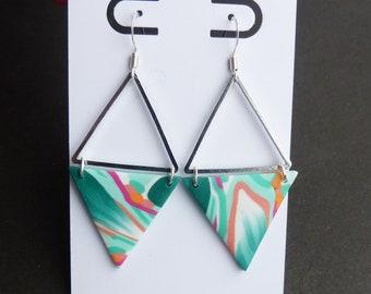 Flower Dangle Earrings, Tropical Floral Leaf Earrings, Green Pink Earrings, Diamond Earrings, Silver Triangles, Monstera Earrings, Summer
