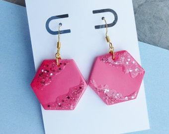 Small Pink Dangle Earrings, Rose Gold Glitter Earrings, Hexagon Earrings, Summer Festival Jewellery, Gifts for Girlfriend, Gifts for Mum
