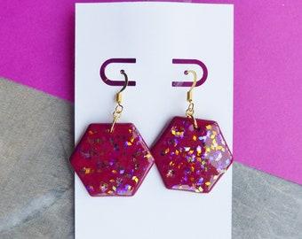 Small Red Wine Dangle Earrings, Holographic Gold Earrings, Hexagon Earrings, Summer Festival Jewellery, Dainty Jewellery, Fun Earrings