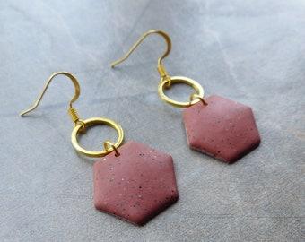 Dainty Dangle Earrings, Terracotta Natural Effect Earrings, Hexagon Earrings, Earthy Faux Stone, Unique Quirky Earrings, Gift for Sister