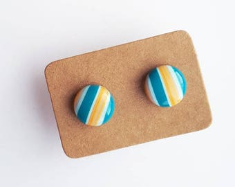 Teal Turquoise Blue & Orange Stud Earrings - 10mm Round - Simple Minimalist Stripe Striped Stripy Lines Geometric - Stainless Steel Studs