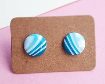 Stud Earrings, Blue Earrings, White Earrings, Stripy Earrings, Ombre Earrings, Studs, Minimal Earrings, Spring, Summer, Nautical Earrings