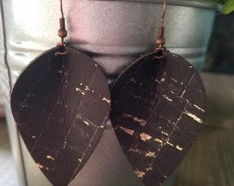 Black and gold cork leaf or teardrop earrings