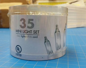 35 Mini Indoor Light Set Clear Lights White Cord (52)