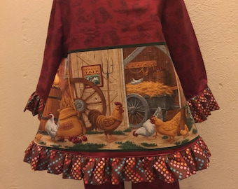 Little Girls Chicken long sleeved Tunic Top and Capris Size 5/6
