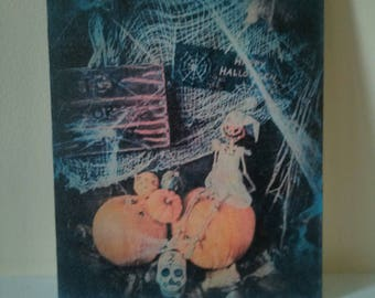 Happy Halloween vintage retro rustic style wall art plaque with skeleton and pumpkins new unique