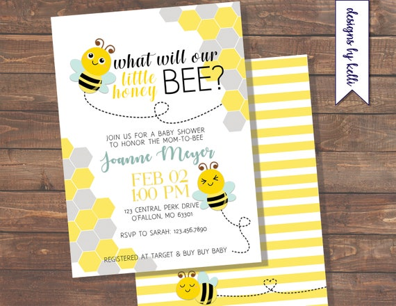 Baby Shower Gender Reveal Bee Theme Honey Bee Baby Bee Etsy