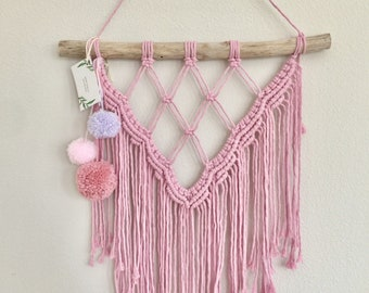 Pink Macrame Wall Hanging with Pom Poms