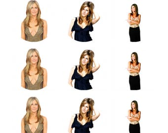 12 x Jennifer Aniston Friends Edible Stand Up Wafer Cake Cupcake Toppers