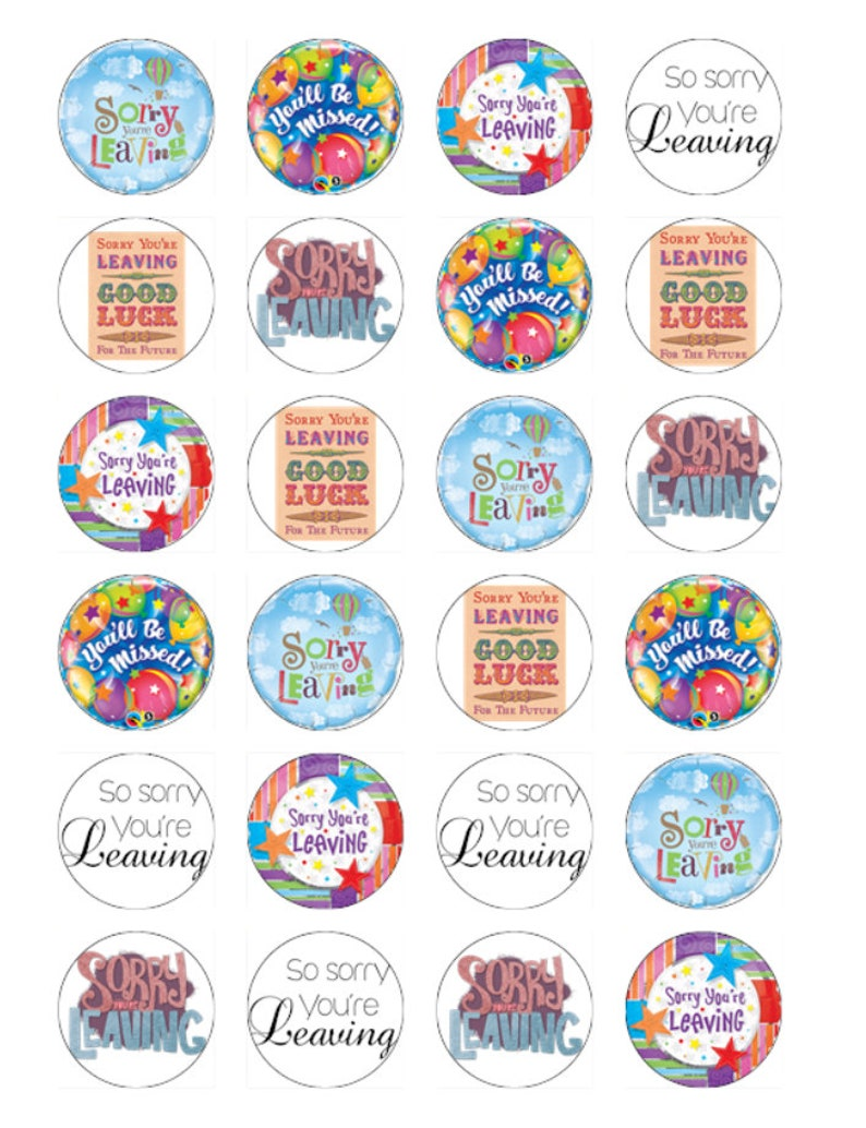 24 Sorry You/'re Leaving Cupcake Cake Toppers Edible Rice Wafer Card Decorations